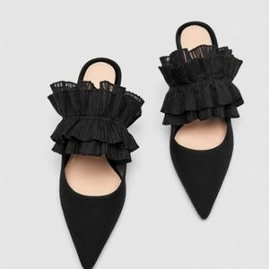 Black suede leather and ruffle heeled slides/mules